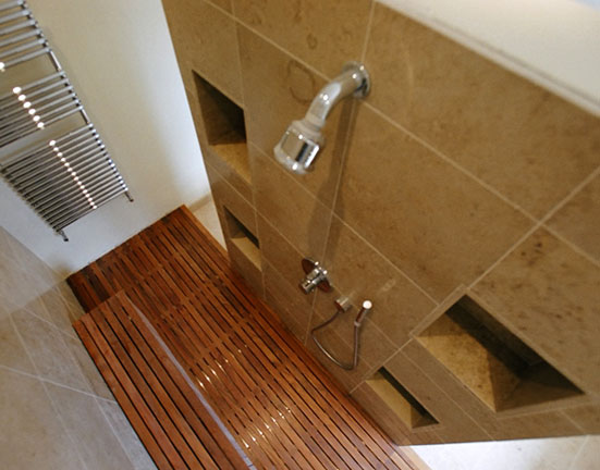 Shower Teak Slated Floor Above