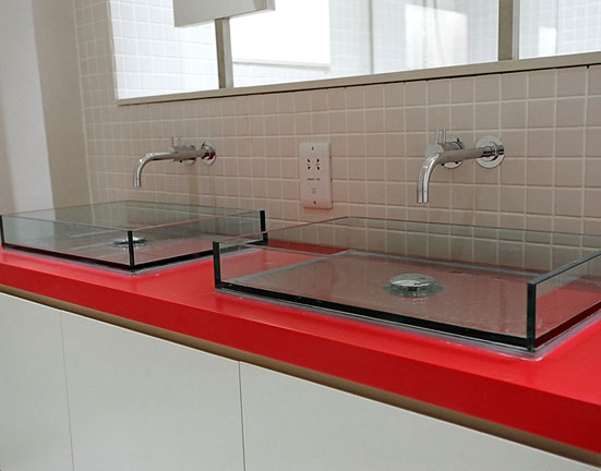Bathroom Red Corian Sink Top