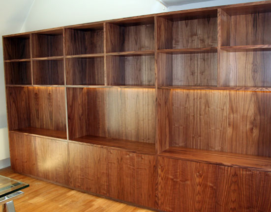 Walnut Veneer Library Unit