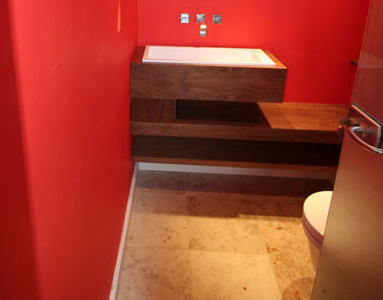 Red Wall Wood Sink