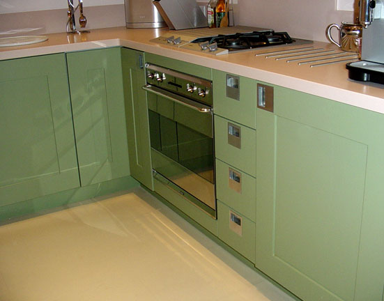 Green Kitchen Cupboards Oven